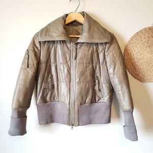 Modern Vintage Lamb Leather Bomber Jacket M